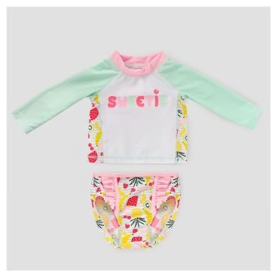 Baby Girls' Fruit Print Rash Guard & Bottoms Set - Cat & Jack™ White 12-18M