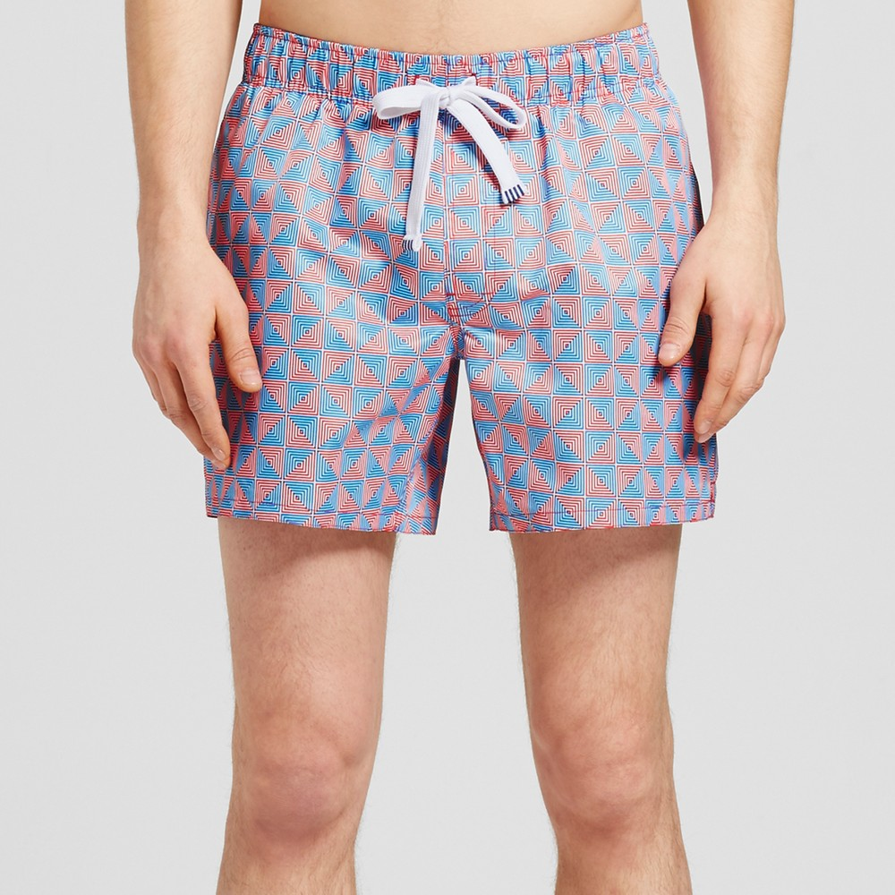 Mens Maze Print Swim Trunks - Evolve By 2(X)Ist Red S