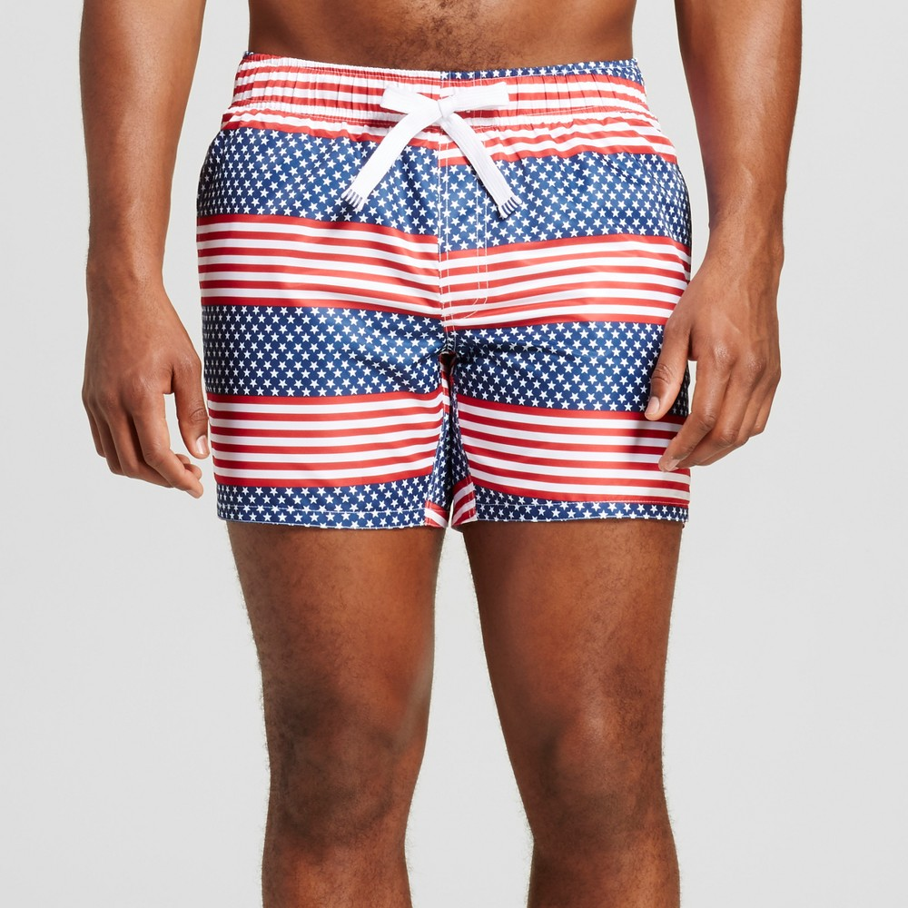 Mens Americana Swim Trunks - Evolve By 2(X)Ist Red XL