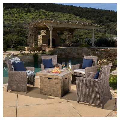 Barcelona 4pc Arm Chair Set With Sunbrella Cushions And The Anchorage  Square MGO Gas Fire Pit   Brown   Christopher Knight Home