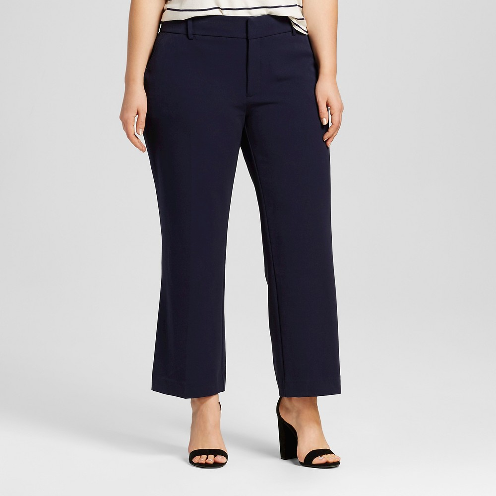 Womens Plus Size Cropped Flare - Ava & Viv Navy 14W, Xaviar Navy