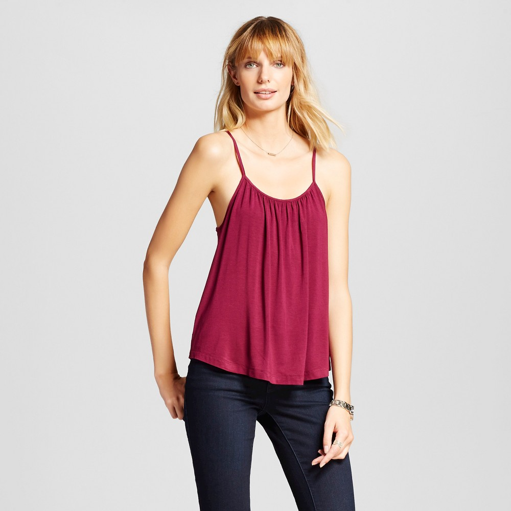 Womens Shirred Cami Wild Cherry XS - Merona