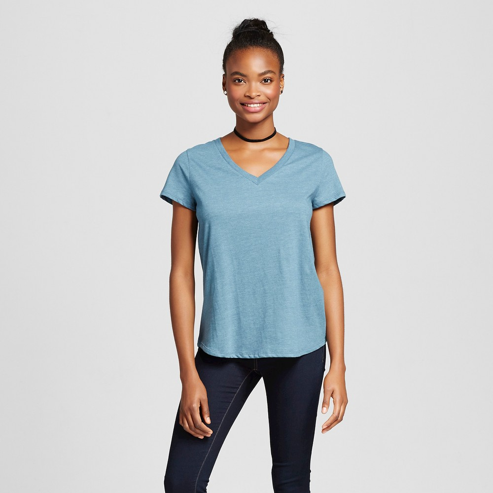 Women's Short Sleeve Relaxed V-Neck Tee Evening Blue S – Mossimo Supply Co.