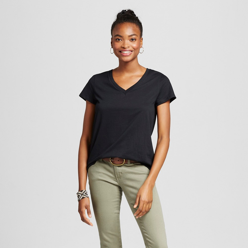 Women's Short Sleeve Relaxed V-Neck T-Shirt Black XS - Mossimo Supply Co.