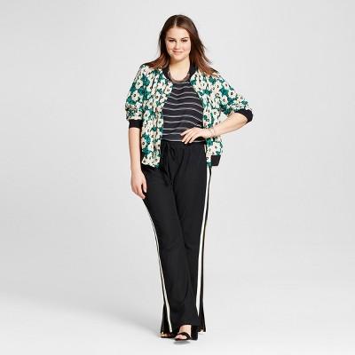Women's Plus Size Layered Woven Tank Black Stripe 1X - Who What Wear