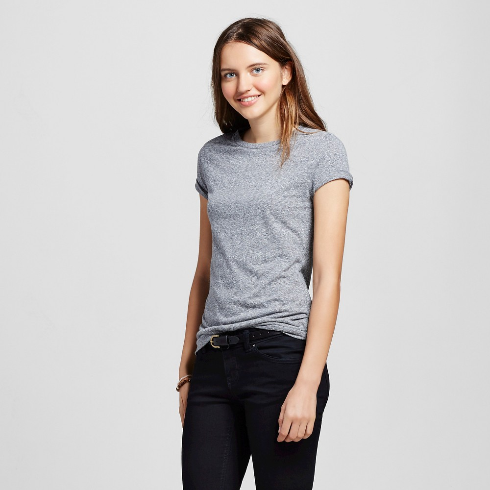 Womens Short Sleeve Essential Crew T-Shirt Gray Triblend L - Mossimo Supply Co.