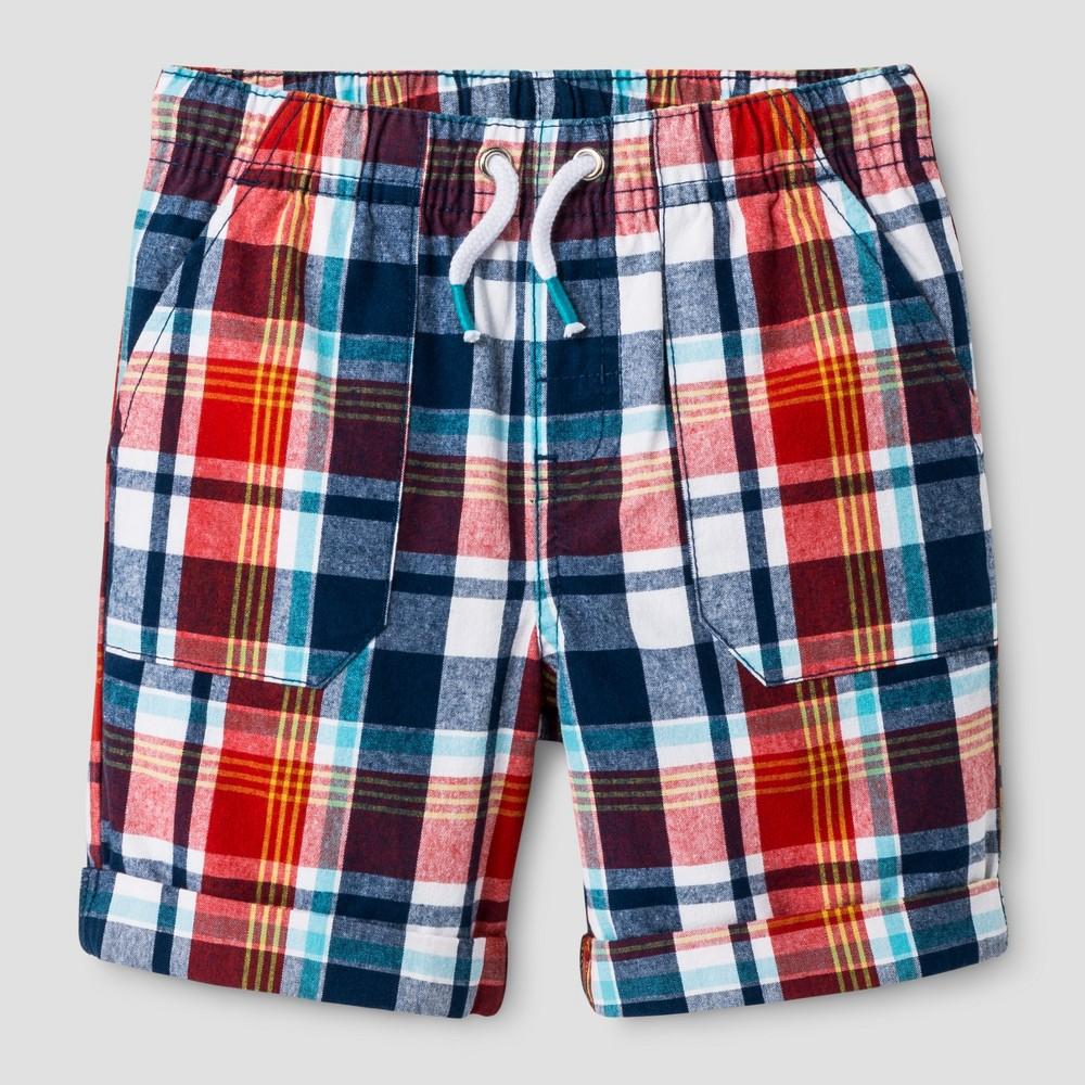 Baby Boys Pull-On Shorts - Cat & Jack Red Plaid 12M, Size: 12 M, Orange