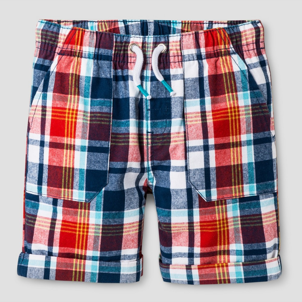 Toddler Boys Pull-On Shorts Cat & Jack Red Plaid 2T, Orange