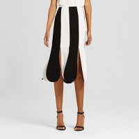Women's Black and White Stripe Scallop Midi Skirt - Victoria Beckham for Target. opens in a new tab.