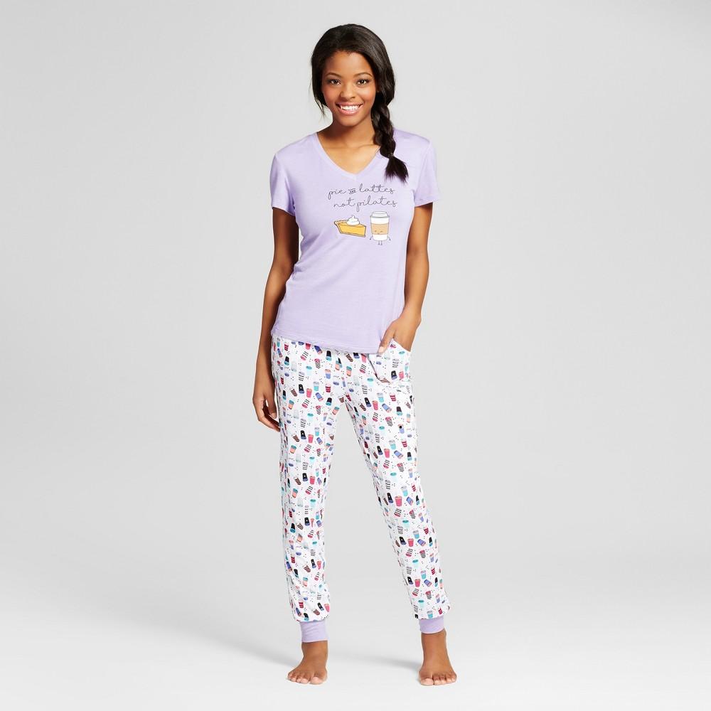 Pajama Drama Womens Tee & Jogger Pajama Set - Latte - Purple/White S