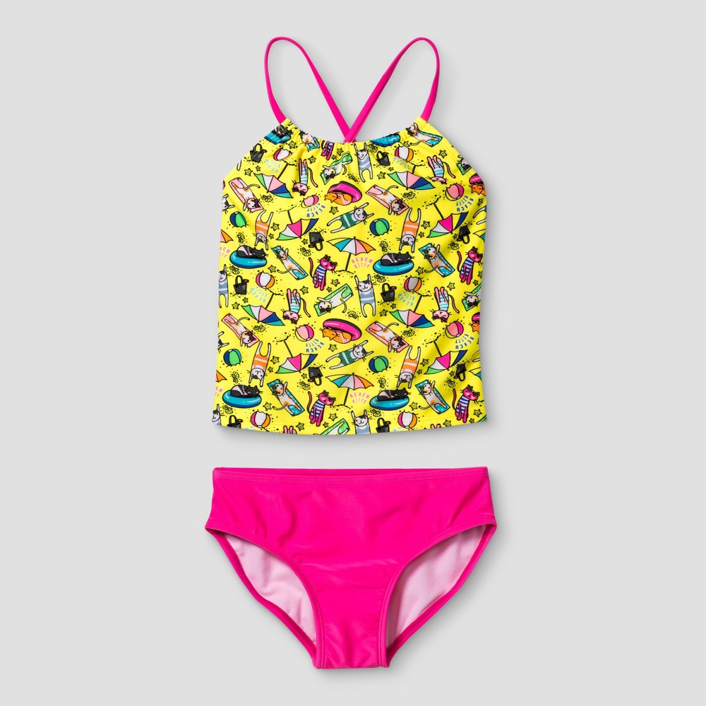 Girls Tankini Cat Print - Cat & Jack Yellow M