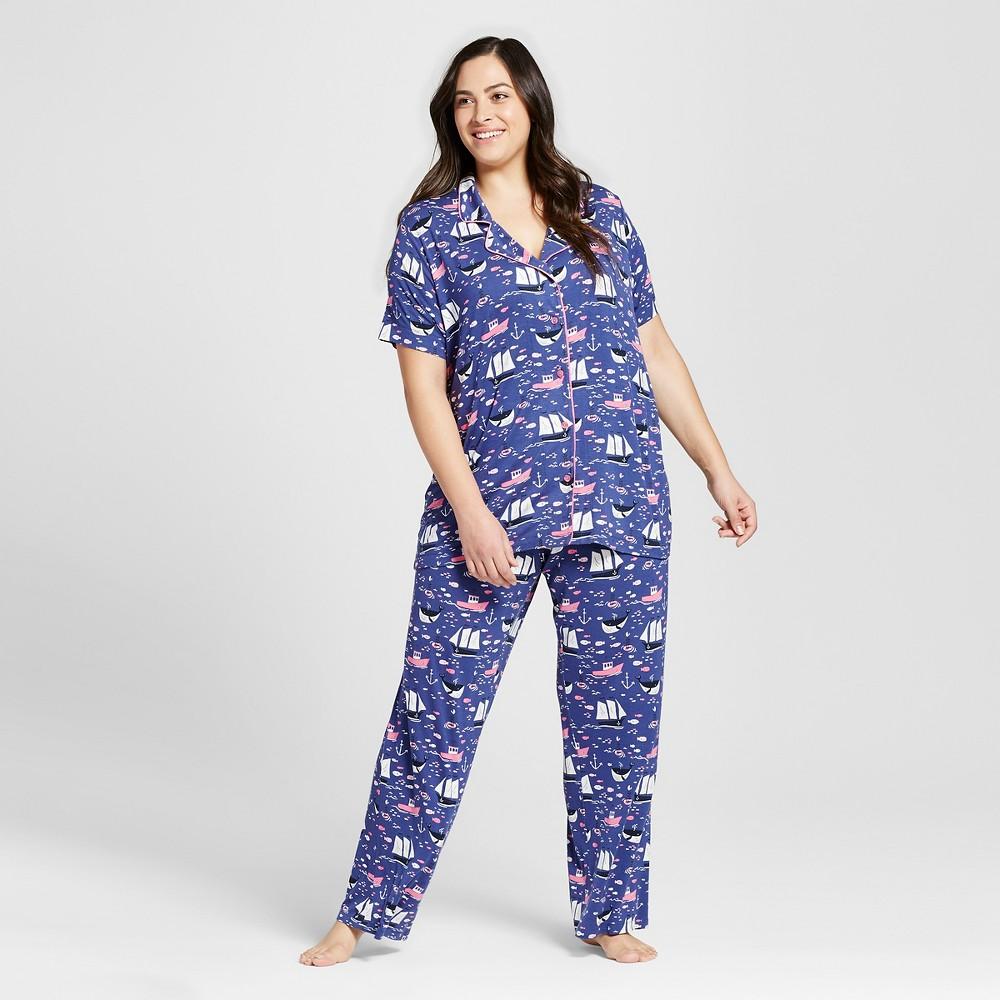 Nite Nite Munki Munki Womens Plus Size Out To Sea Jersey Classic Pajama Set - Blue/Out To Sea 3X