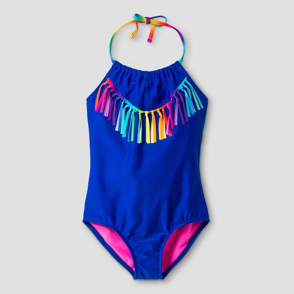 Girls One Piece Swimsuit With Tassels - Xhilaration Blue S