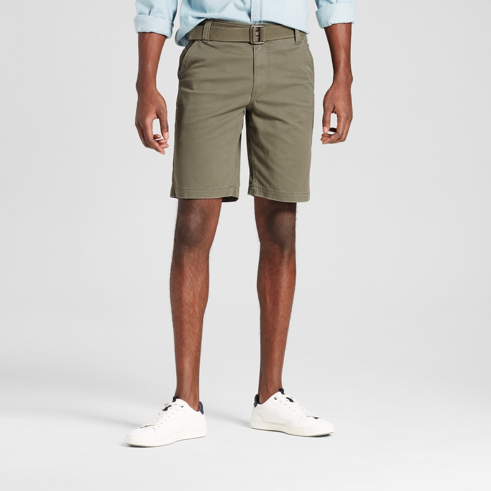 Mens Belted Flat Front Chino Shorts with Stretch - Mossimo Supply Co. Olive (Green) 38