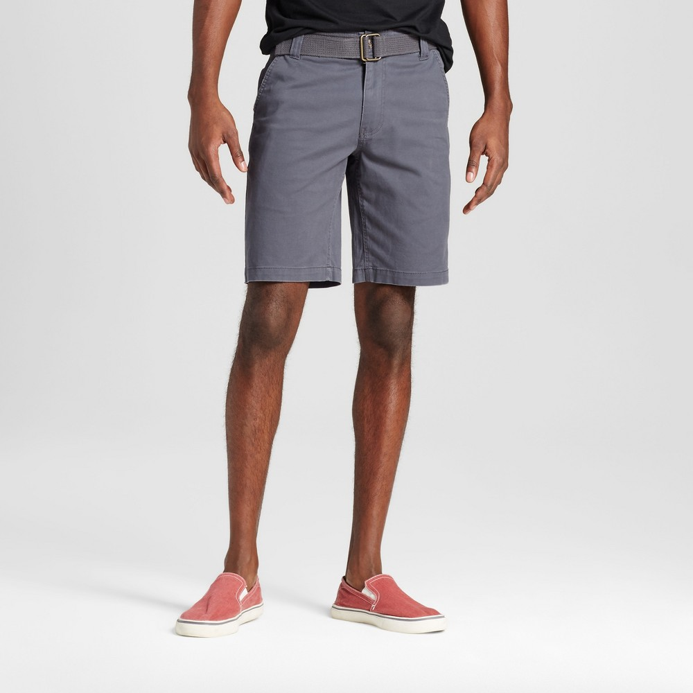 Mens Belted Flat Front Chino Shorts with Stretch - Mossimo Supply Co. Gray 30