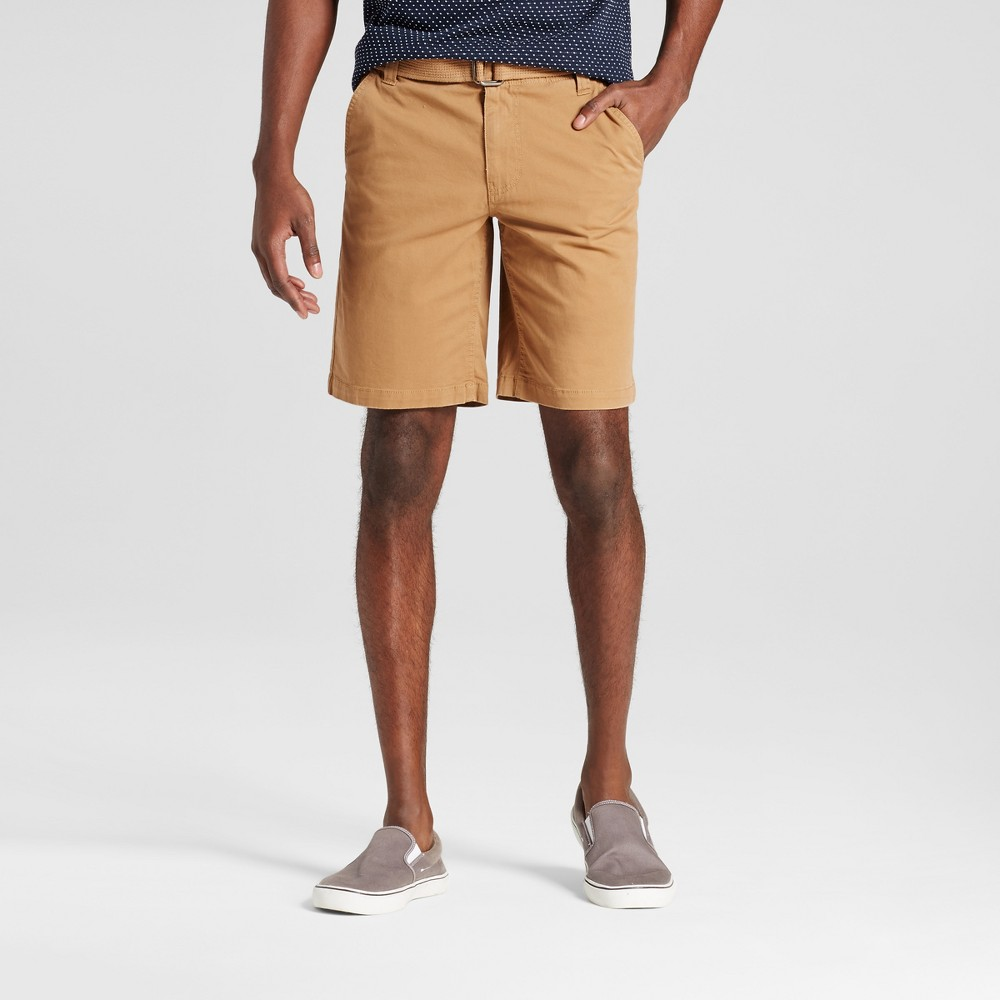 Men's Belted Flat Front Chino Shorts with Stretch - Mossimo Supply Co. Brown 28