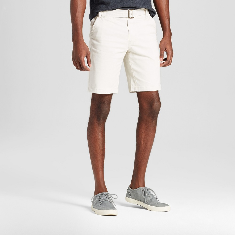 Mens Belted Flat Front Chino Shorts with Stretch - Mossimo Supply Co. Tan 30