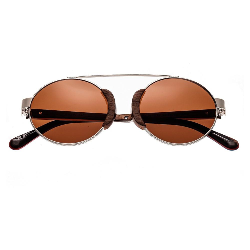 Earth Wood Talisay Polarized Sunglasses - Silver & Walnut/Brown, Adult Unisex, Toasted Walnut