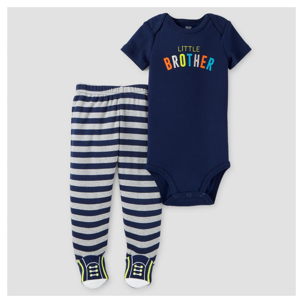 Baby Boys Little Brother 2pc Footed Pants Set - Just One You Made by Carters Black 6M, Size: 6 M, Blue