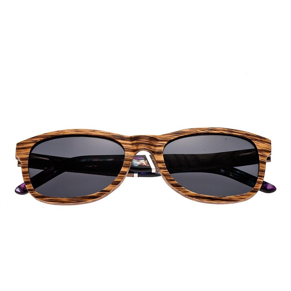 Earth Wood El Nido Polarized Sunglasses - Zebra & Walnut (Brown)/Black, Womens