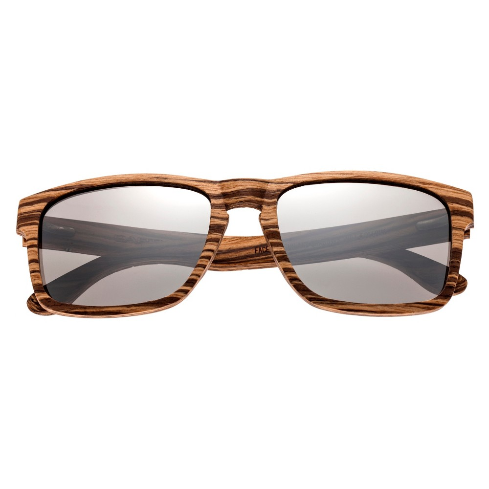 Earth Wood Whitehaven Polarized Sunglasses - Zebra & Walnut (Brown)/Silver, Adult Unisex
