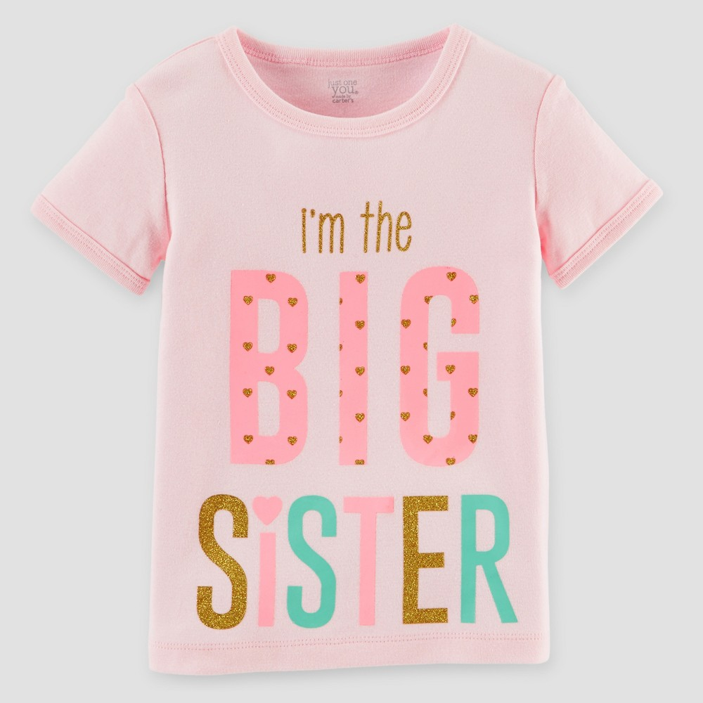 Toddler Girls Big Sister T-Shirt - Just One You Made by Carters Pink 18M, Size: 18 M
