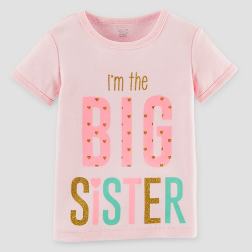 Toddler Girls' Big Sister T-Shirt Pink 3T - Just One You Made by Carter's, Toddler Girl's