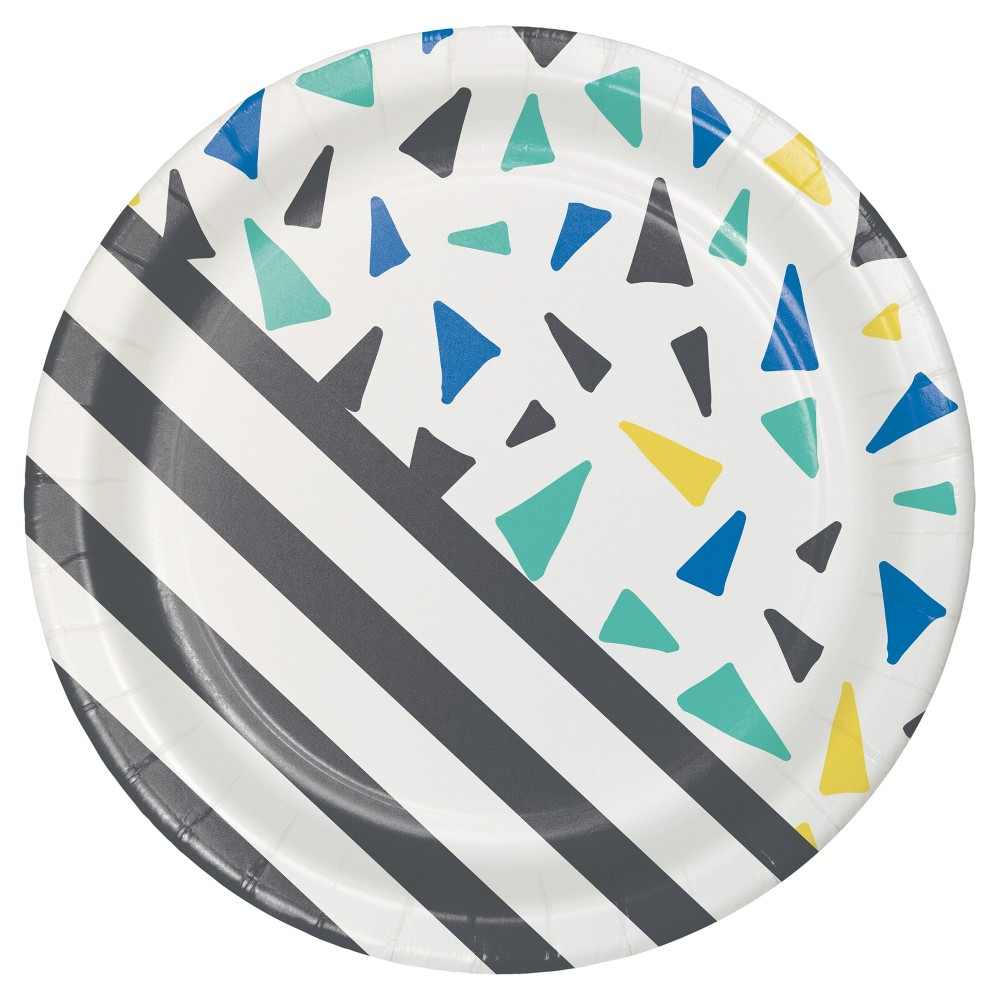 10ct Triangle Confetti & Stripes Plate - Spritz, Multi-Colored