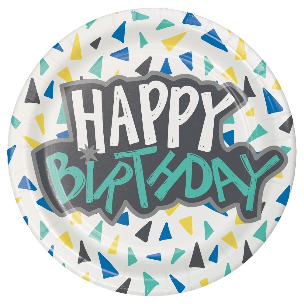 Image of 10ct Happy Birthday Triangle Confetti Plate - Spritz, Multi-Colored