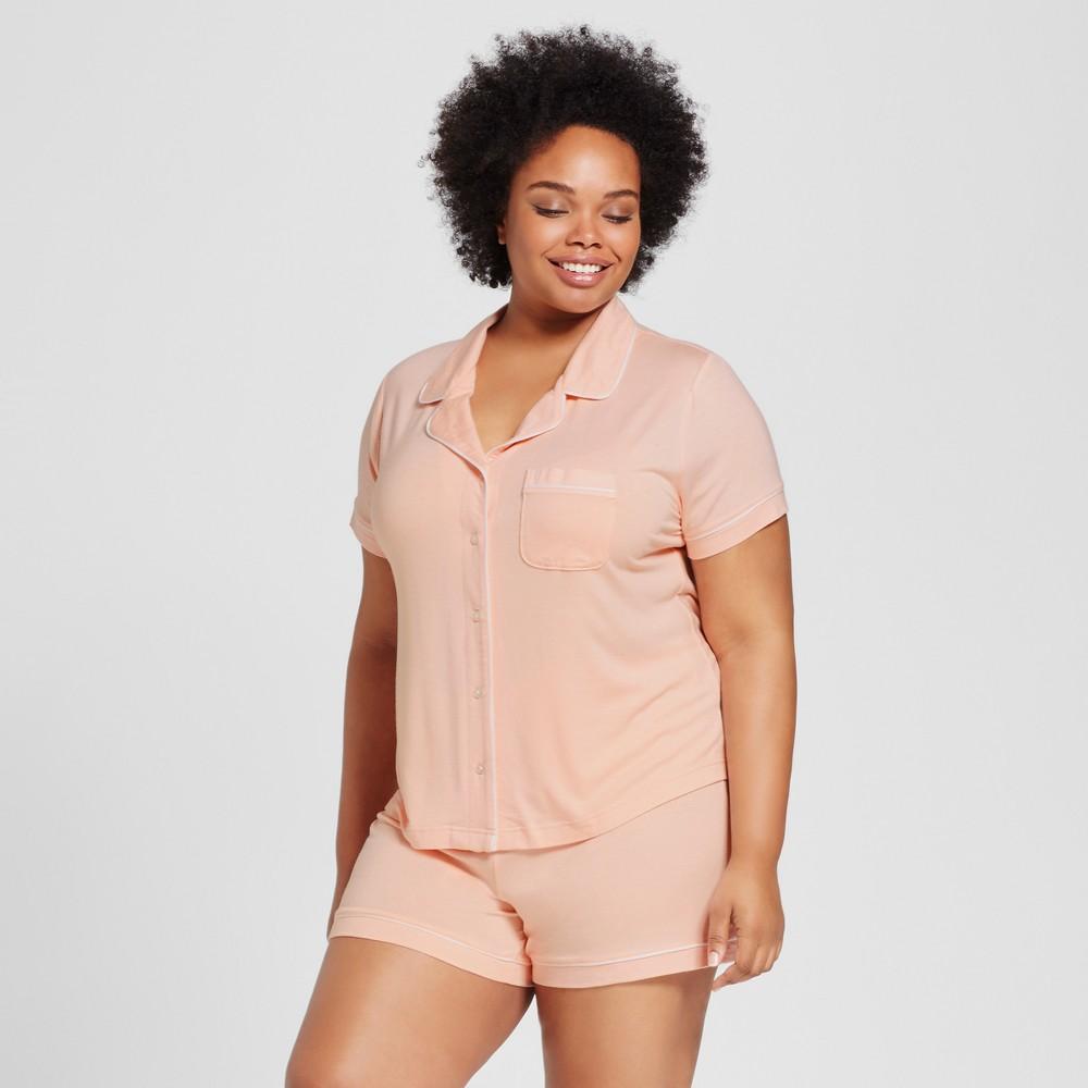 Womens Plus Size Pajama Set - Peach Divine 3X, Orange