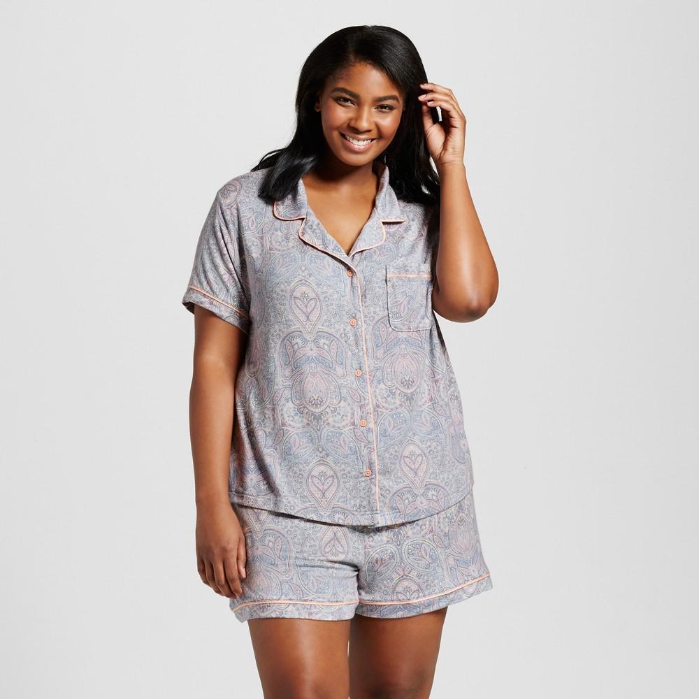 Womens Plus Size Pajama Set - Misty Blue 3X