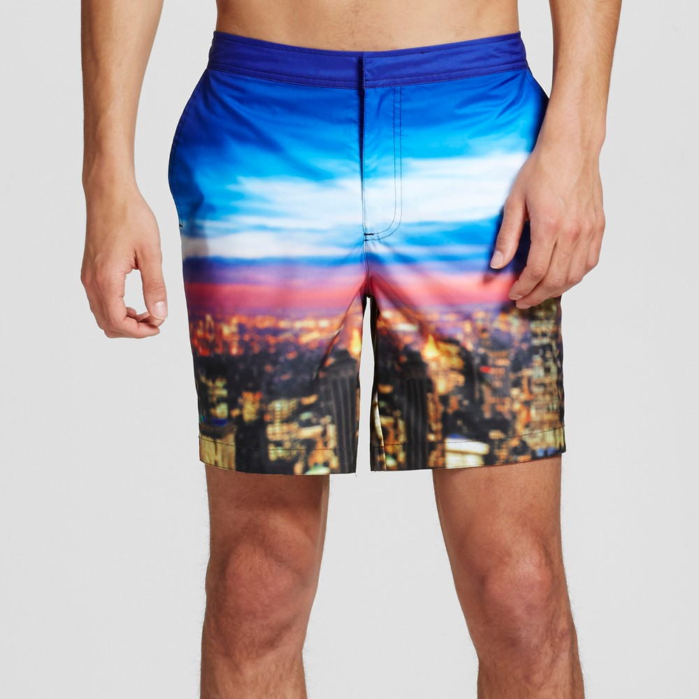 Mens Cityscape Swim Trunks Blue 34 - Dwg