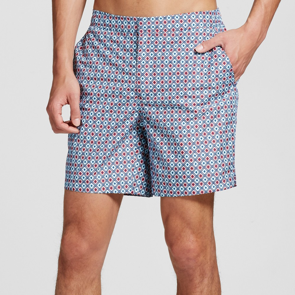 Mens Geo Print Swim Trunks Turquoise Burgundy 30 - Dwg, Red
