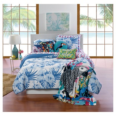 White & Blue Palm Flower Quilt Set (Full/Queen)3-pc - Hot Now™