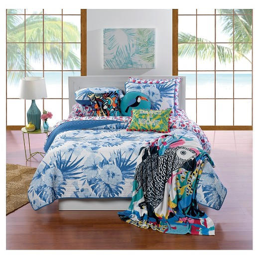 White & Blue Palm Flower Quilt Set (Full/Queen) 3-pc - Hot Now ... : full quilt sets - Adamdwight.com