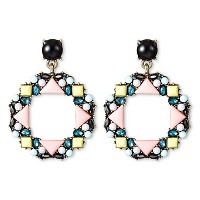 SUGARFIX by BaubleBar Beaded Geometric Drop Earrings - Light Coral. opens in a new tab.