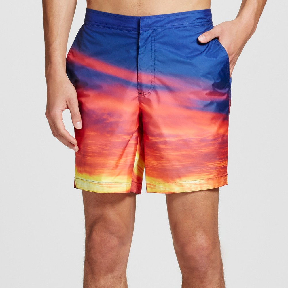 Mens Sunset Swim Trunks Purple Orange 32 - Dwg