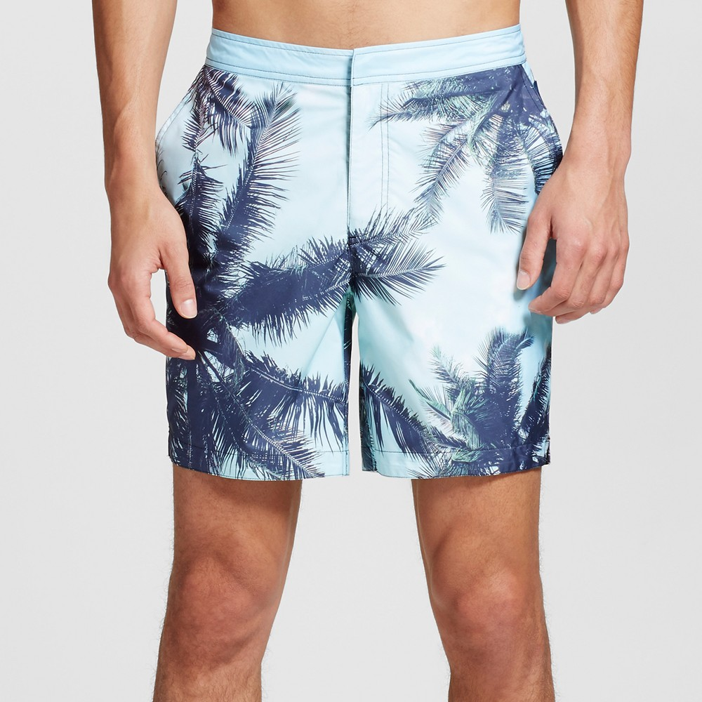 Mens Tropical Swim Trunks Turquoise Blue 34 - Dwg