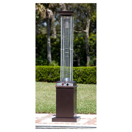 Hammered Finish Square Flame Patio Heater Brown Fire