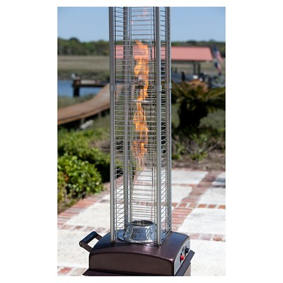 Hammered Finish Square Flame Patio Heater Brown Fire Sense