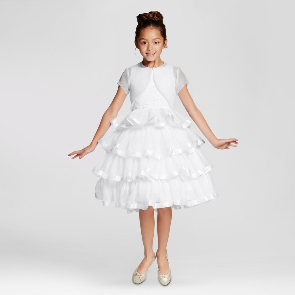 Girls Mia Sophia Satin Trim Communion Dress with Jacket - White 12