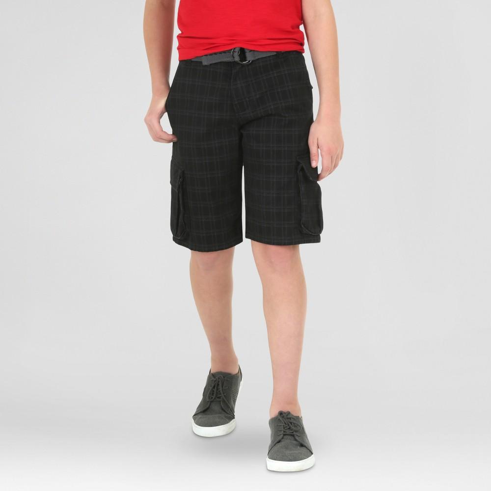 Wrangler Boys Cargo Shorts Black Plaid 16 Husky