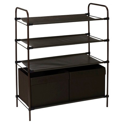 Household Essentials - Craft & Shoe Storage Shelf - 2 Bins - 4 Shelves - Bronze/Brown