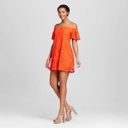 Women's Lace Off the Shoulder Shift Dress Poppy L - Lots of Love by Speechless (Juniors'), Red