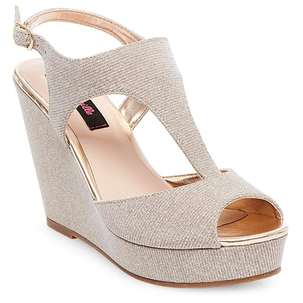 Womens Betseyville Ryatt Glitter Mesh Platform Wedge Sandals - Soft Gold 6