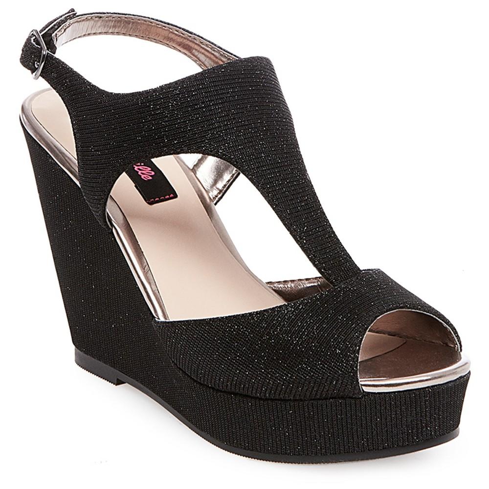 Womens Betseyville Ryatt Glitter Mesh Platform Wedge Sandals - Black 7.5
