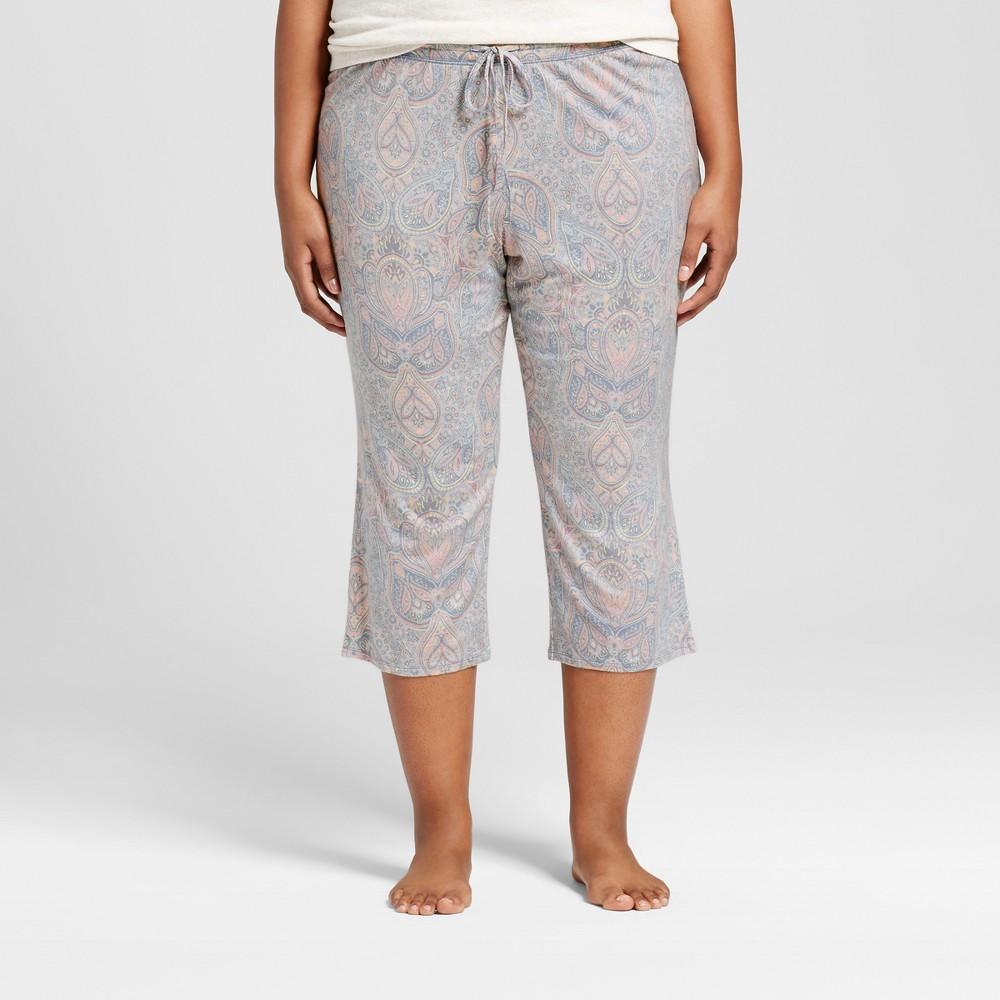 Womens Plus Size Pajama Pants Misty Blue 2X