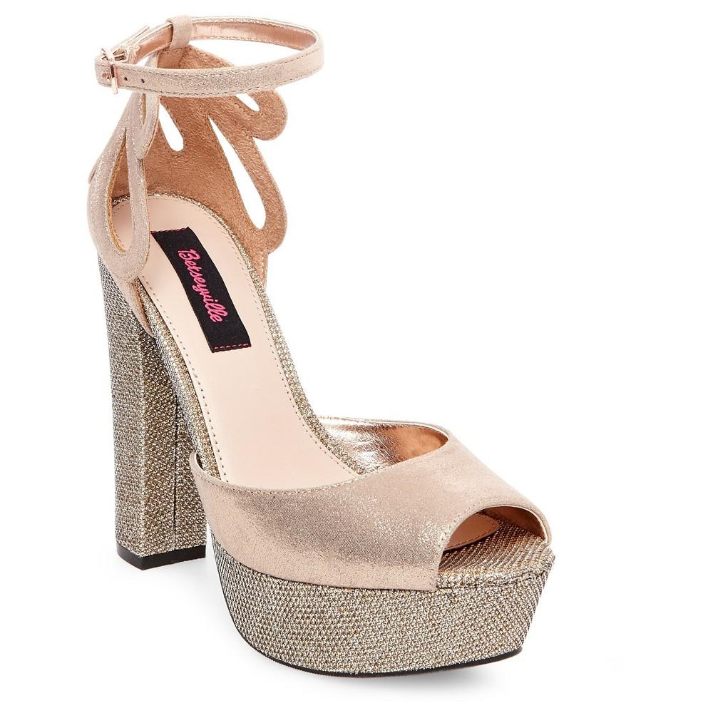 Womens Betseyville Daisy Glitter Mesh Platform Block Heel Sandals - Rose Gold 10
