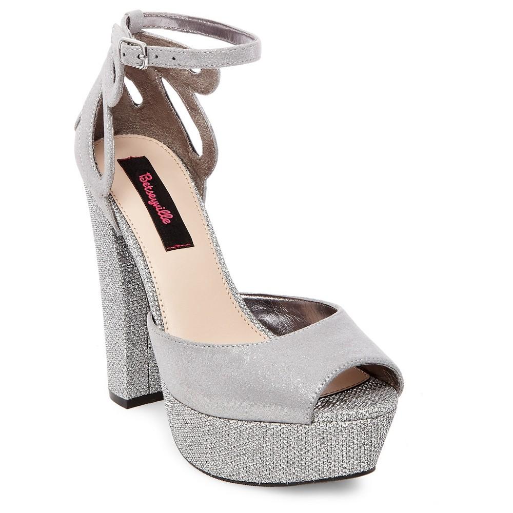 Womens Betseyville Daisy Glitter Mesh Platform Block Heel Sandals - Pewter (Silver) 8.5