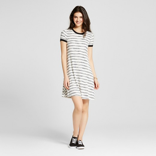 Women's Ringer T-Shirt Dress Black and White Stripe - Mossimo ...
